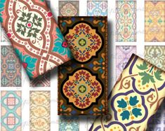 Tiles From Around The World (2) Digital Collage Sheet - Dominos 1x2 inch or Bamboo size with Mosaic from the world - Buy 3 Get 1 Extra Free