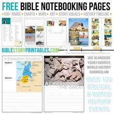 Free Bible Notebooking Pages, Creation through Birth of Christ.  Coordinating Timeline figures too, use for Homschool History Curriculum
