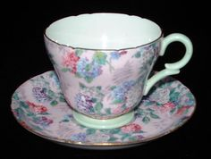 Shelley Cup And Saucer Summer Glory Chintz Pink Henly Shape Demitasse