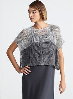 INSPIRATION for both knitting and crochet Eileen Fisher 4 strips and 4 seams is all it would take for a woven version. Knitted it is just work out the dimensions and tension you want. Knitting Patterns, Sewing Patterns, Crochet Patterns, Sewing Clothes, Crochet Clothes, Dress Clothes, Poncho Tops, Top Pattern, Pulls