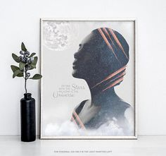 Made of Stardust, Printable Wall Art, Space Print, Moon Print, Full Moon Print, Moon Poster, Woman Print, Woman Silhouette Poster