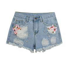 Distressed Sequined Denim Shorts ❤ liked on Polyvore featuring shorts, rhinestone shorts, destroyed jean shorts, cut-off shorts, sequin jean shorts and destroyed denim shorts