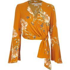 River Island Orange floral print wrap ballet crop top (190 DKK) ❤ liked on Polyvore featuring tops, orange, blouses, sale, women, orange crop top, bralet crop top, wrap top, bell sleeve tops and v neck crop top