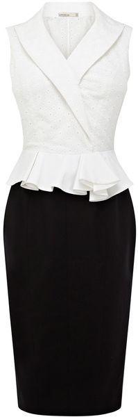 Karen Millen Geometric Broderie Dress in Black (black & white) - Lyst