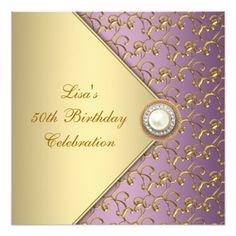 Elegant Purple And Gold Womans 50th Birthday Party Card Invitation Wording Invites