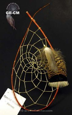 Cherokee style Red Willow Dream Catcher - On the Trail of Tears, the Cherokee medicine men did not have time to make the willow in a round shape.  So as they webbed them, the willow would snap in the shape of a teardrop.  The Dream Catcher is a spiritual symbol of love & dedication from the Native American's way of life.
