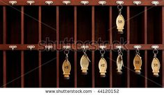 30. Several hotel keys in a cabinet - stock photo