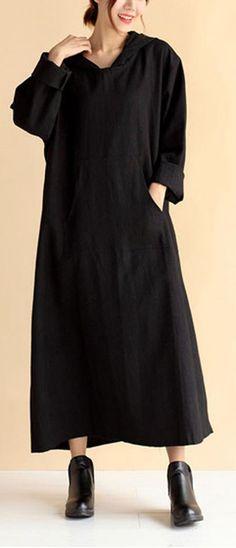 Women Hooded Pockets Spring Quilting Dresses Wardrobes Black Loose Dresses Loose Dresses, Spring Dresses Casual, Unique Dresses, Linen Dresses, Fall Dresses, Beautiful Dresses, Dresses With Sleeves, Summer Dresses, Cotton Wedding Dresses