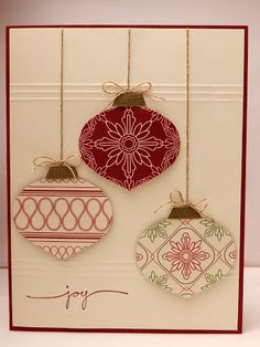 Simple punch art christmas card. Ornaments punched from DSP. Small texture details. Simple saying.