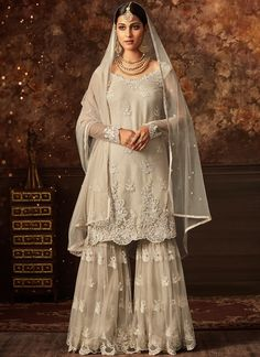 a821bf5893 Off White Net Embroidered Plazzo Style Suits(Semi Stitched) in India