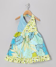 Take a look at this Green & Blue Floral Halter Dress - Toddler & Girls by Beary Basics on #zulily today!