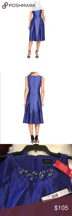 """SALE Tahari Arthur Levine Embellished Dress 6 NWT A fit and flare silhouette with beaded embellishments. Boatneck. Sleeveless. Side pocket. Pleated skirt. Concealed back zip closure. Lined. Tea Length. Polyester. Color: Sapphire. Size: 6. ( Flat across chest armpit to armpit 19"""", waist 15"""".. approx,) length from top to hem 44"""". Brand new with tags. Selling on Lord & Taylor currently on sale for $126.* Bundle discount doesn't apply to this item. Tahari Dresses Midi"""