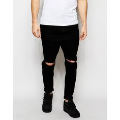 ASOS Drop Crotch Jeans In Black With Knee Rips (€20) ❤ liked on Polyvore featuring men's fashion, men's clothing, men's jeans, black, mens destroyed jeans, asos mens jeans, mens drop crotch jeans, mens torn jeans and mens ripped jeans