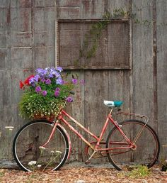 Bicycle with basket & flowers