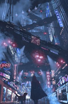 Cyberpunk city life futuristic design with colored signs and flying trains Cyberpunk City, Cyberpunk 2077, Ville Cyberpunk, Cyberpunk Kunst, Cyberpunk Aesthetic, Futuristic City, City Aesthetic, Futuristic Architecture, Cyberpunk Fashion