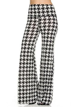 843d3748899 Plus Size Houndstooth Palazzo Pants Black