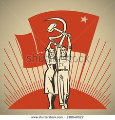 Happy man and woman together holding in their hands labor tools hammer and sickle on the background of the rising sun and waving socialism flag vector illustration - stock vector
