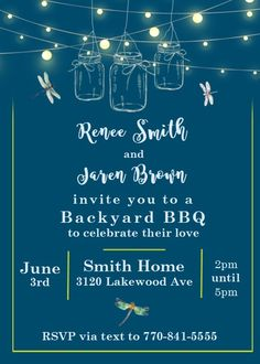 Mason Jar and dragonfly low country boil party invitations summer evening under the stars and twinkle lights Evening Party, Summer Evening, Low Country Boil, Rooftop Party, Engagement Party Invitations, Backyard Bbq, Summer Time, Rsvp, Mason Jars