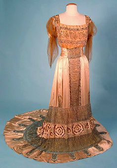 Gold Beaded & Lace Gown, 1912.