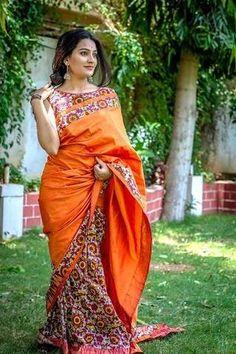 Ravishing Chanderi silk saree with kalamkari print half and half pattern