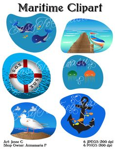 Digital Download Clipart  Variety of 6 Maritime by EasytoTreasure