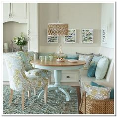 See how cabinets bumps up to seating area Chevron Woven Cotton/Jute Rug - Aqua Beach Cottage Style, Beach House Decor, Cottage Style Decor, Dining Nook, Beach Dining Room, Bench Dining Room Table, Nook Table, Dining Sets, Diy Table