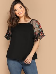 SHEIN Plus Flower Embroidery Mesh Sleeve Blouse women's plus size clothing including dresses, tops, bottoms, and lingerie. plus size clothing plus size dresses plus size fashion plus size clothes affordable plus size clothing trendy plus size clothing urban plus size clothing cute trendy plus size clothes plus size plus size womens clothing trendy plus size clothing plus size clothing stores plus size maxi dresses plus size stores cheap plus size clothing plus size boutique plus size party…