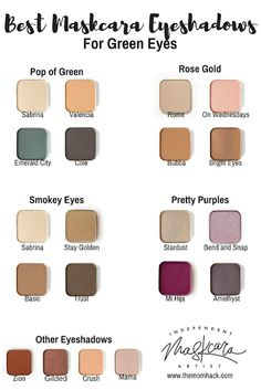 Best Eyeshadow for Green eyes! Best eye shadows for green eyes. Maskcara make Maskcara Makeup, Maskcara Beauty, Beauty Makeup, Makeup Tips, Makeup Ideas, Makeup Products, Beauty Tips, Beauty Products, Contouring Makeup