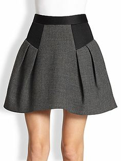 MILLY Raquel Flared Wool Skirt