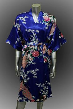 Bridesmaid Silk Robes Deep Ocean Blue Painting Peacock Design Gown Robe  ( Free Size)