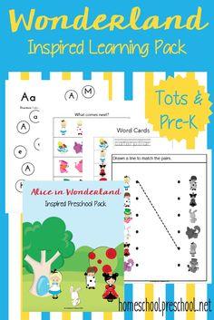 Your tots and preschoolers will love this fun Alice in Wonderland printable pack!   homeschoolprescho...