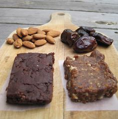 Pin no longer active. My favourite Peanut Butter Lara Bar recipe.  Best to double it if you want to fill an 8x8 pan for bars.  Fantastic with a 1/4 of melted chocolate spread on top. I think the recipe called for half a cup of almonds, I cup dates, 3 tbsp peanut butter, 1/2 tsp vanilla.