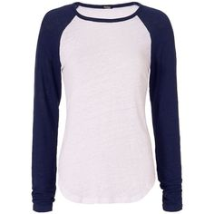 Monrow Baseball Tee ($130) ❤ liked on Polyvore featuring tops, t-shirts, white, white long sleeve t shirt, baseball t shirt, linen t shirt, baseball tshirt and baseball tees