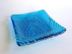 Bright Turquoise Fused Glass Peacock Feather Imprint Square Plate
