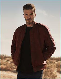 David Beckham sports a burgundy bomber jacket for H&M's fall-winter 2016…