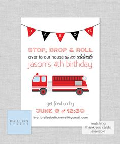 printable FIRETRUCK birthday party invitation by phillipsstreet