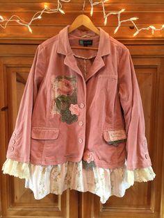 Plus Size XXL 1X Shabby Chic Pink Corduroy Upcycled Jacket-Upcycled Romantic Coat Vintage Cabin Chic Coat-Pink Roses crochet appliqué  on Etsy, $98.00