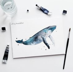 Pin by freedom rise becca stevens on // art we love // in 2019 watercolor a Watercolor Whale, Watercolour Painting, Painting & Drawing, Watercolors, Arte Sketchbook, Oeuvre D'art, Flower Art, Art Drawings, Illustration Art