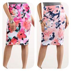 www.holyadornment.com Missy Red or Blush Watercolor Print Pencil Skirt #Missy #Red #Blush #WatercolorPrint #PencilSkirt