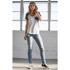 Bullhead Denim Co. Jeannie Blue Ripped Low Rise Skinny Jeans ($50) ❤ liked on Polyvore featuring jeans, destroyed jeans, ripped blue jeans, distressed jeans, blue jeans and slim fit jeans