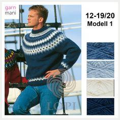 "12-19/20 Modell 1 ""Bonderøven-genseren"" - Garnmani.no - Spesialist på islandsk garn Knit Crochet, Men Sweater, Turtle Neck, Knitting, Sweaters, Wonderland, Fashion, Tricot, Threading"