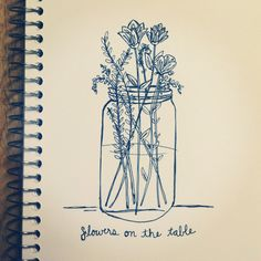 love fresh flowers in a simple mason jar #flowers #masonjar #illustration…