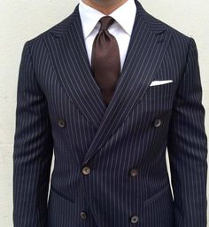 A navy double breasted pinstripe men's suit is dapper and timeless. For your most comfortable, best looking and fitting suit or tuxedo come see Giorgenti New York. Your style consultation is free with one of expert designers/tailors. Best Mens Fashion, Mens Fashion Suits, Mens Suits, Blue Pinstripe Suit, Blue Suit Men, Best Suits For Men, Cool Suits, Wedding Suit Styles, Wedding Suits