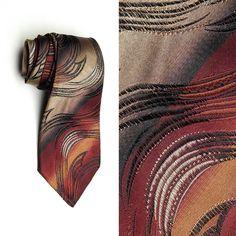 d22209891cbe Mens Vintage 30s Maroon Gold Black Brown Swirling Abstract Necktie Neck Tie