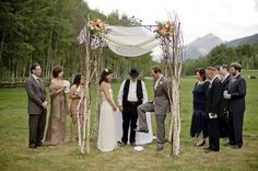 Rustic Chuppah with Birch Poles
