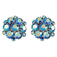 WEISS aurora borealis clip on earrings from LuluandBelle - Vintage Jewellery