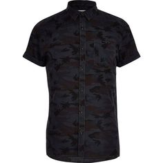 River Island Navy camo print shirt ($9.12) ❤ liked on Polyvore featuring men's fashion, men's clothing, men's shirts, men's casual shirts, navy, shirts, mens camo shirts, mens casual short sleeve shirts, mens camouflage shirts and mens button front shirts