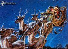 Weihnachtsmann, Rentiere, Schlitten