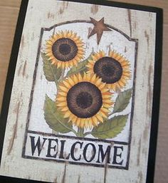 Country Wall Art On Wood Barn Sunflower Welcome Sign Wood Country Kitchen