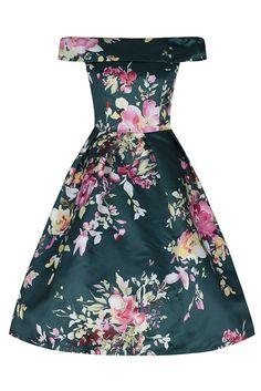 Green Bardot Neck Floral Swing Dress